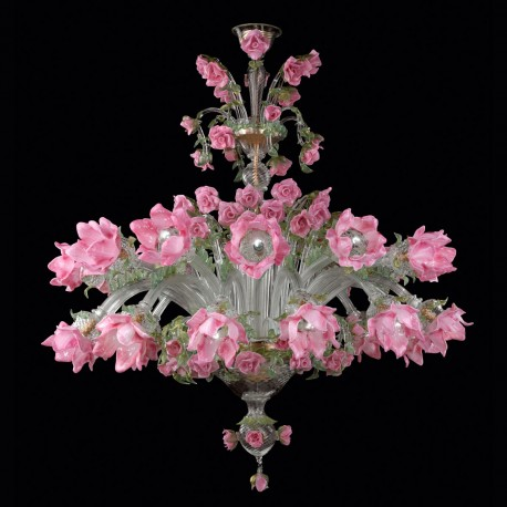 """Roseto"" Murano glass chandelier - 12 + 12 lights"