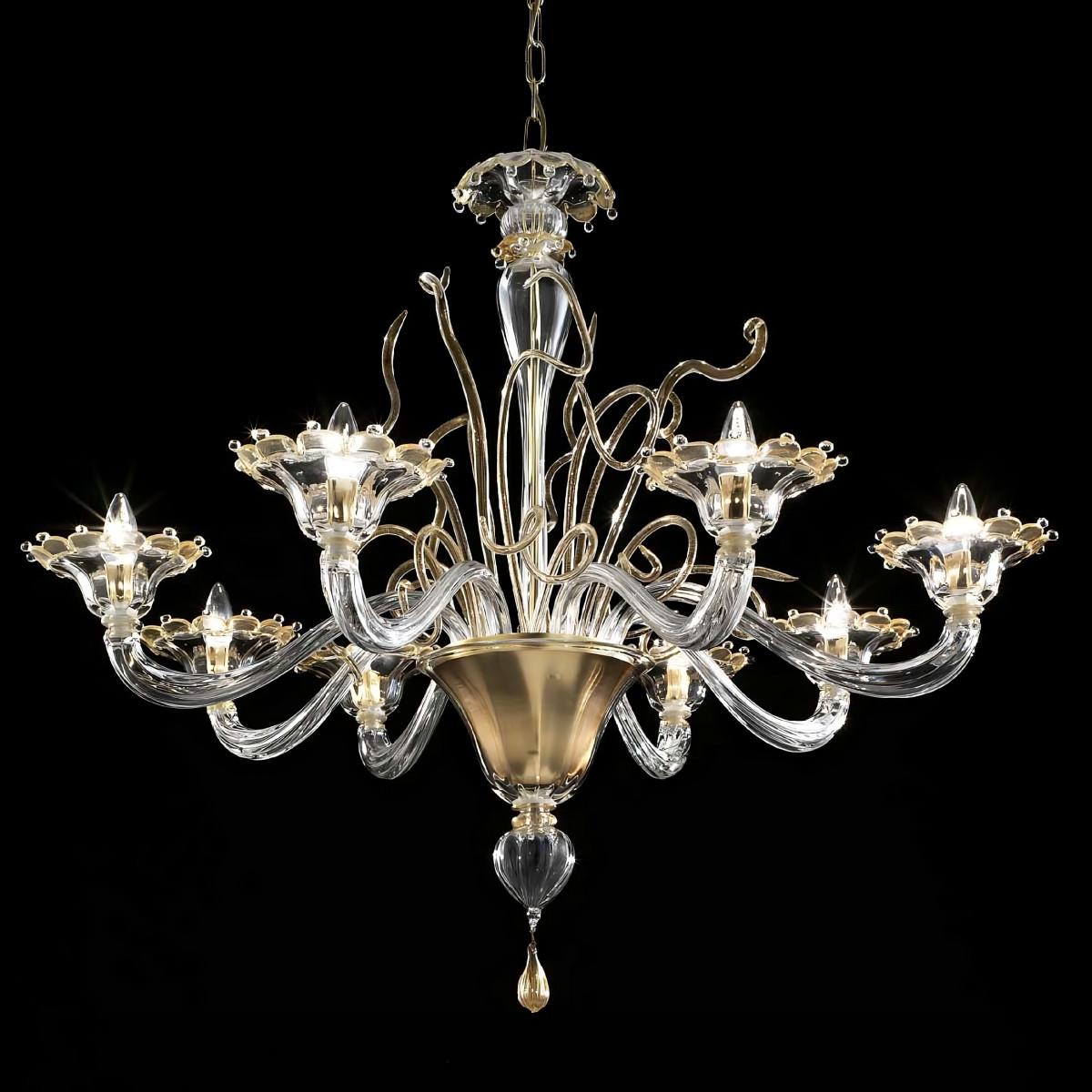 Góndola 8 luces araña de Murano - color  transparente oro