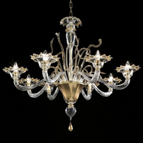 Gondola 8 lights Murano chandelier - transparent gold color