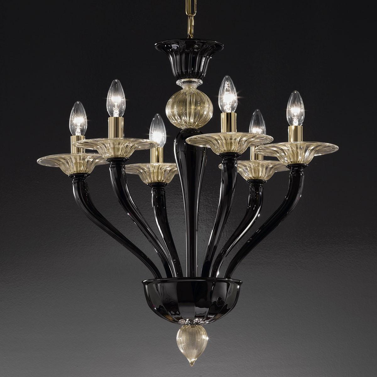 """""""Macbeth"""" lustre en cristal de Murano - 6 lumieres, noir et or"""