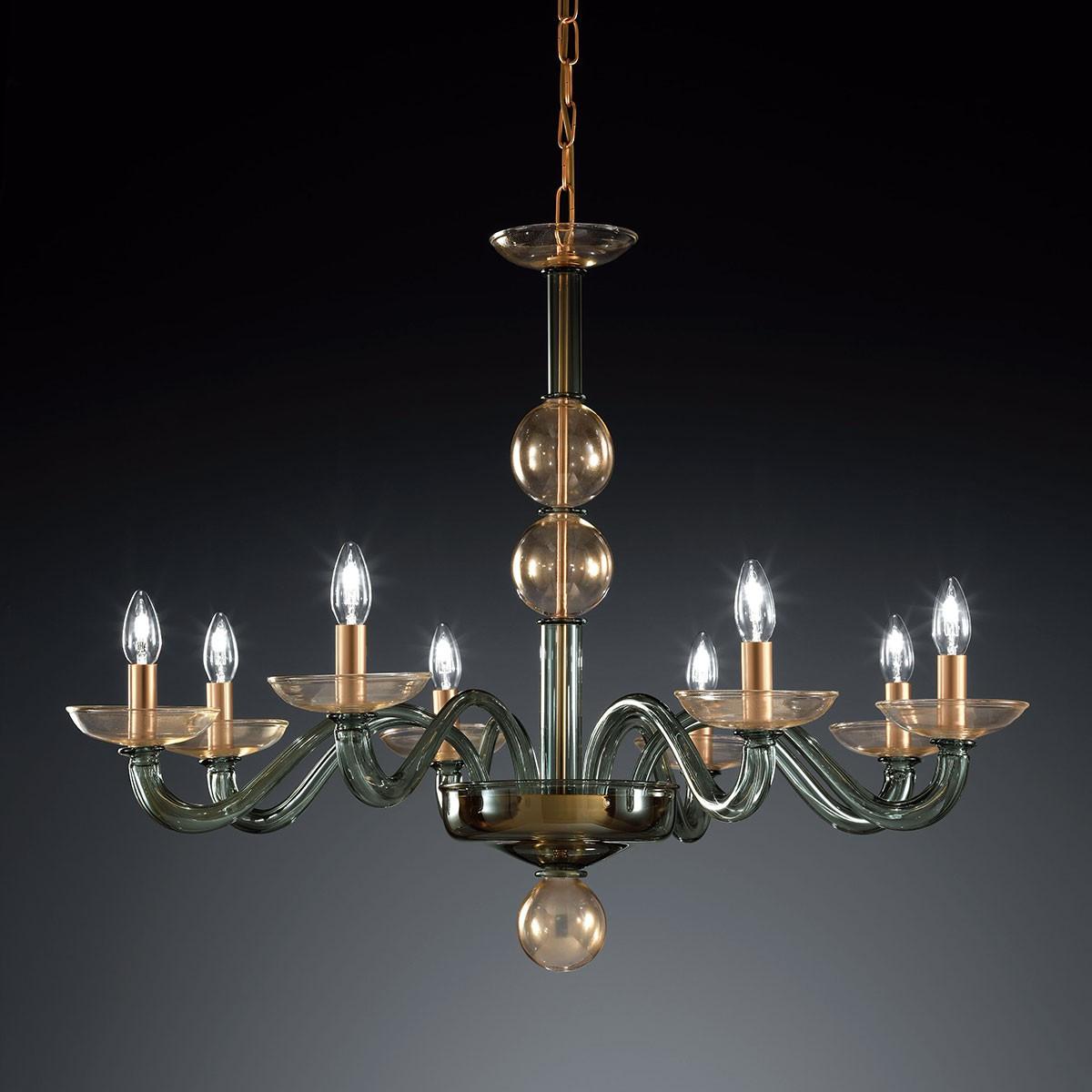 """Tibaldo"" lampara de araña de Murano - 8 luces - verde y oro"
