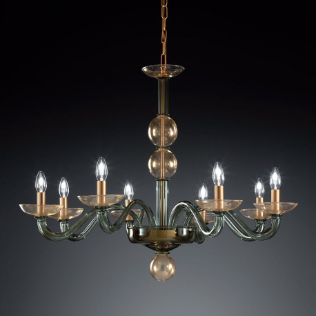 """Tibaldo"" Murano glass chandelier - 8 lights - green and gold"
