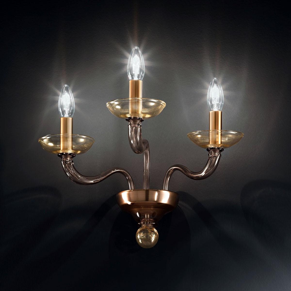 """Tibaldo"" applique en verre de Murano - 3 lumières - gris et or"