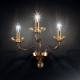 """Tibaldo"" Murano glass sconce - 3 lights - grey and gold"