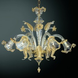 Canal Grande 8 lights Murano chandelier - transparent gold with polychrome flowers