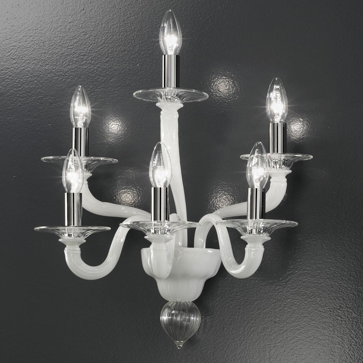 """""""Macbeth"""" applique en verre de Murano - 6 lumières - transparent et blanc"""