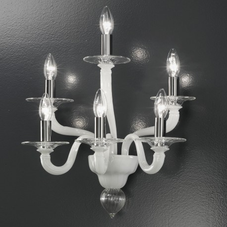 """Macbeth"" Murano glass sconce - 6 light - transparent and white"