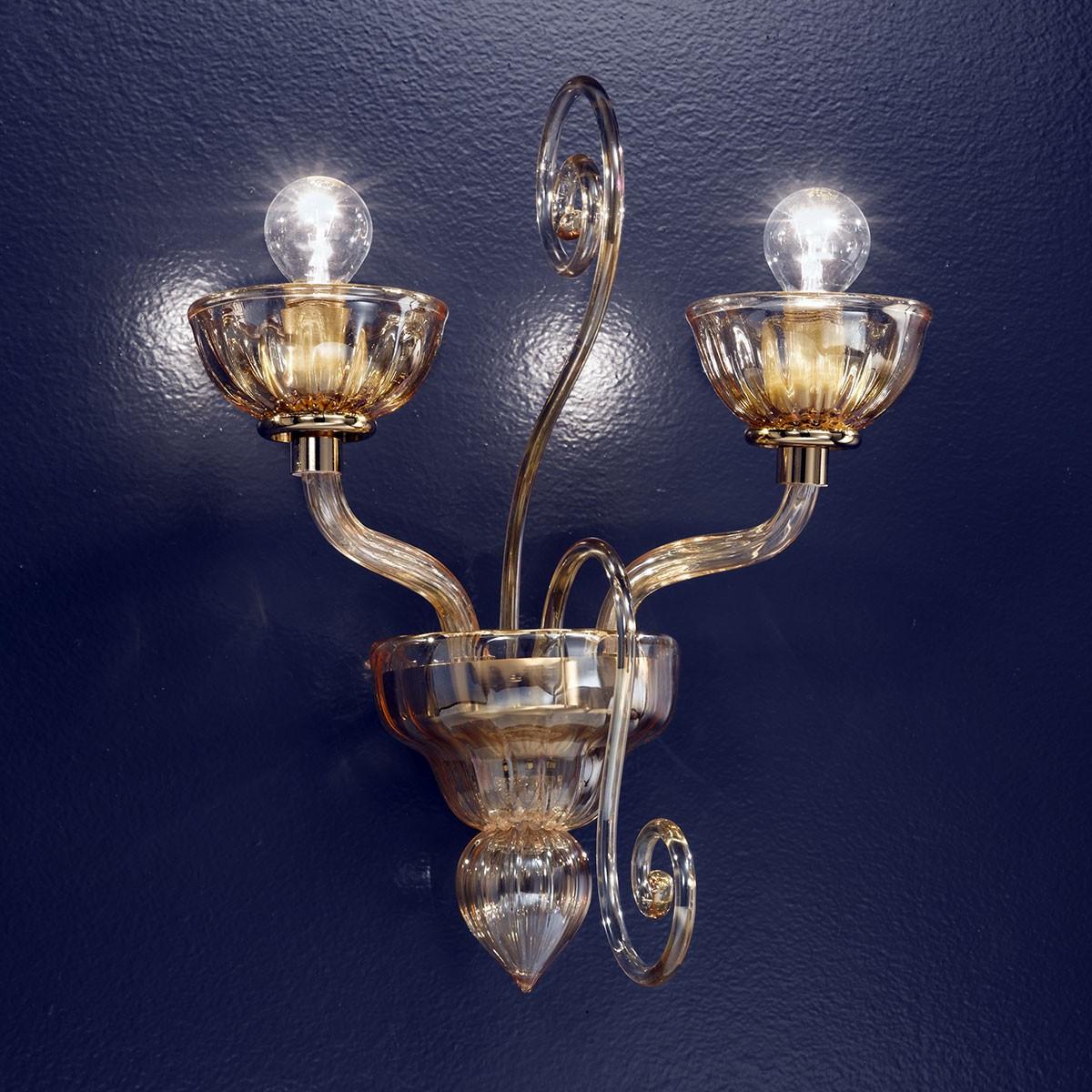 """""""Bassanio"""" aplique de pared de Murano - 2 luces - ámbar"""
