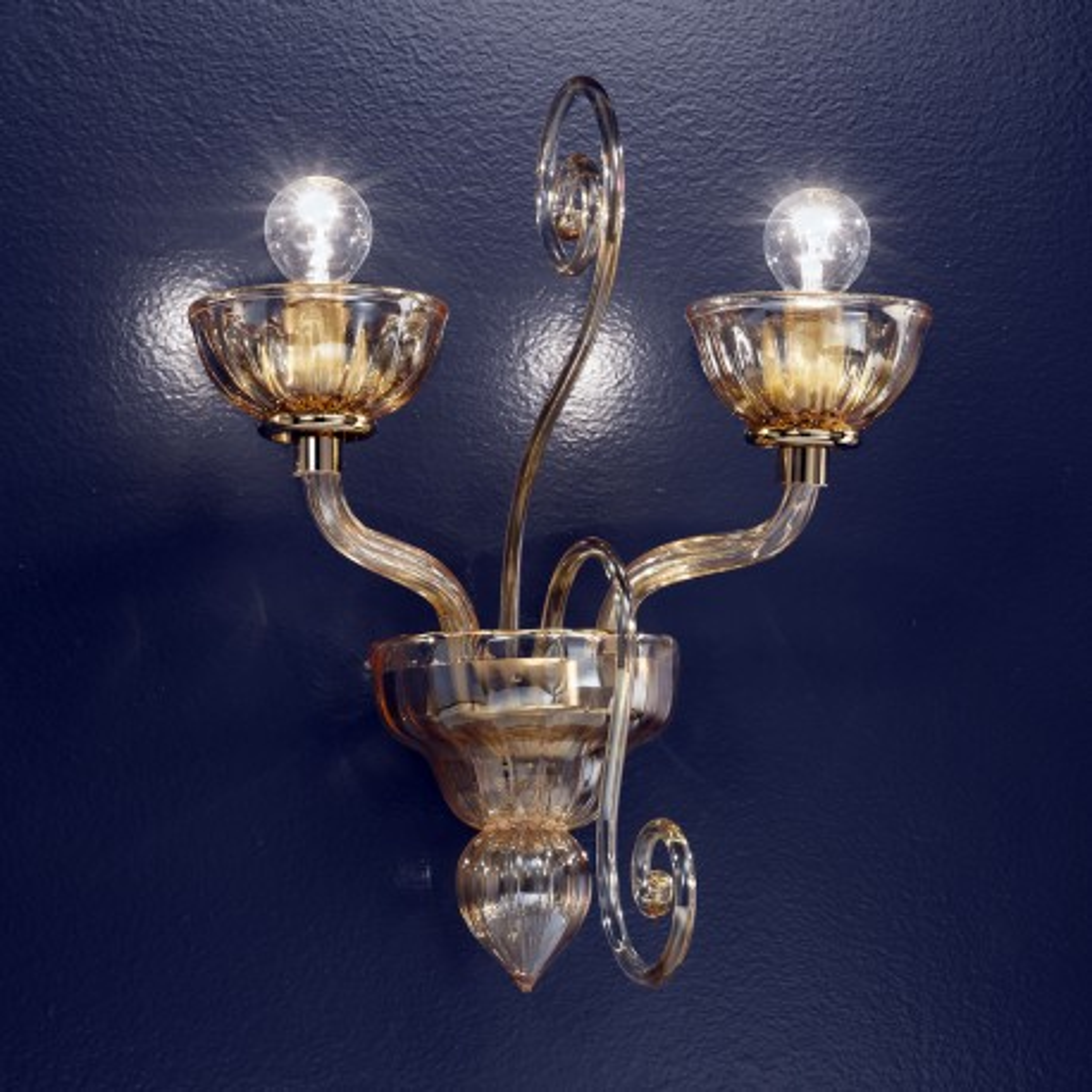 """""""Bassanio"""" applique en verre de Murano - 2 lumières - ambre"""