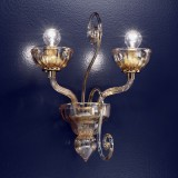 """Bassanio"" Murano glass sconce - 2 lights - amber"