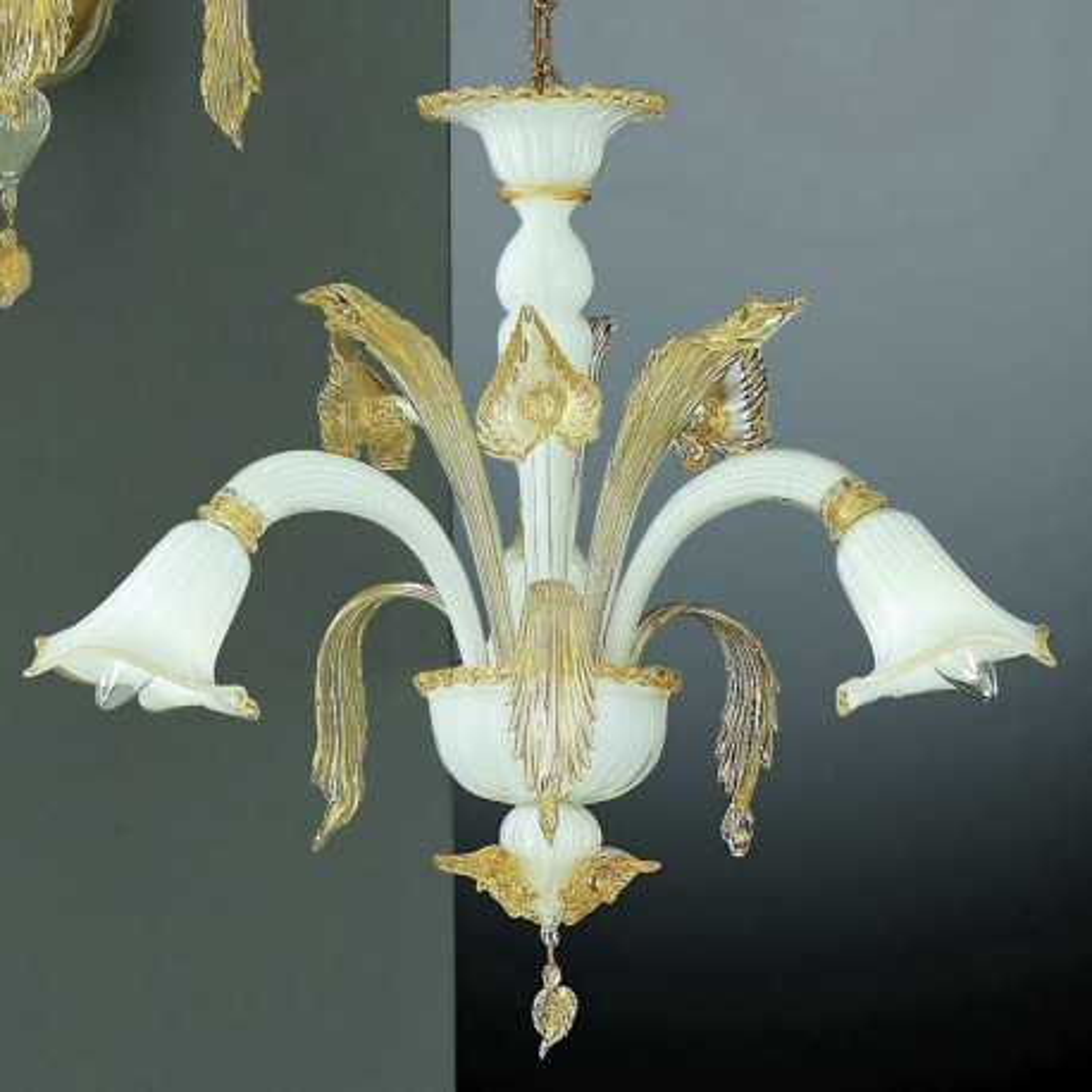 Laguna 3 luces lampara Murano - color blanco y oro