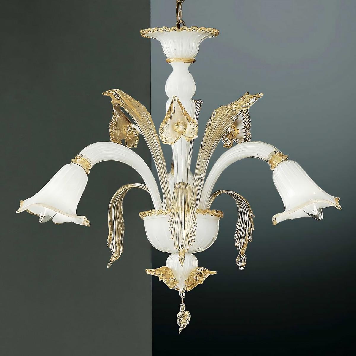Laguna 3 lights Murano chandelier white gold color