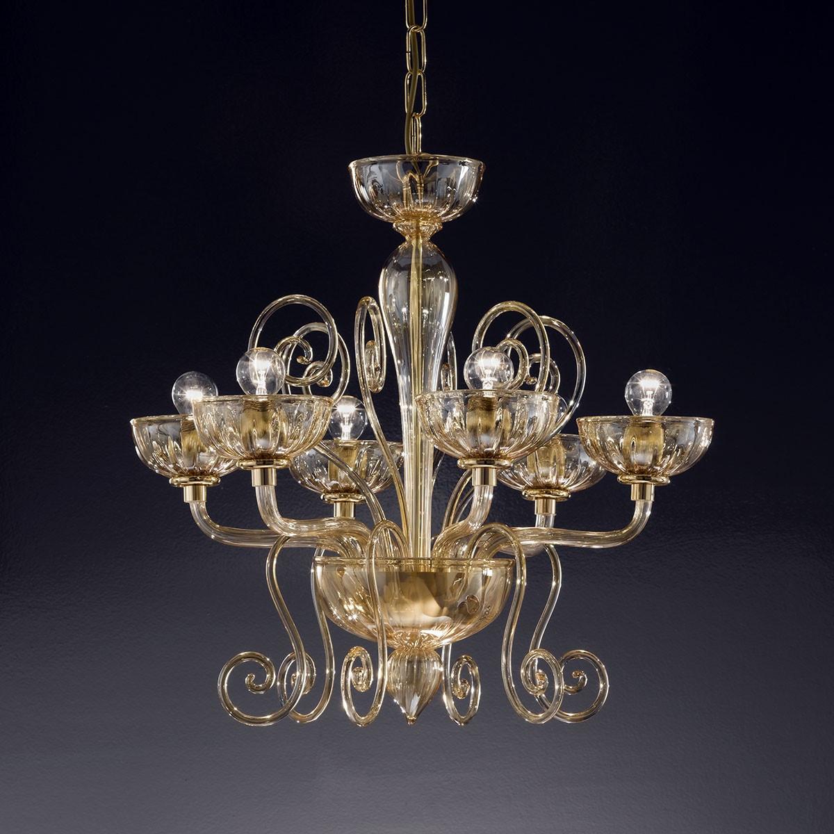 """""""Bassanio"""" lampara de araña de Murano - 6 luces - ámbar"""