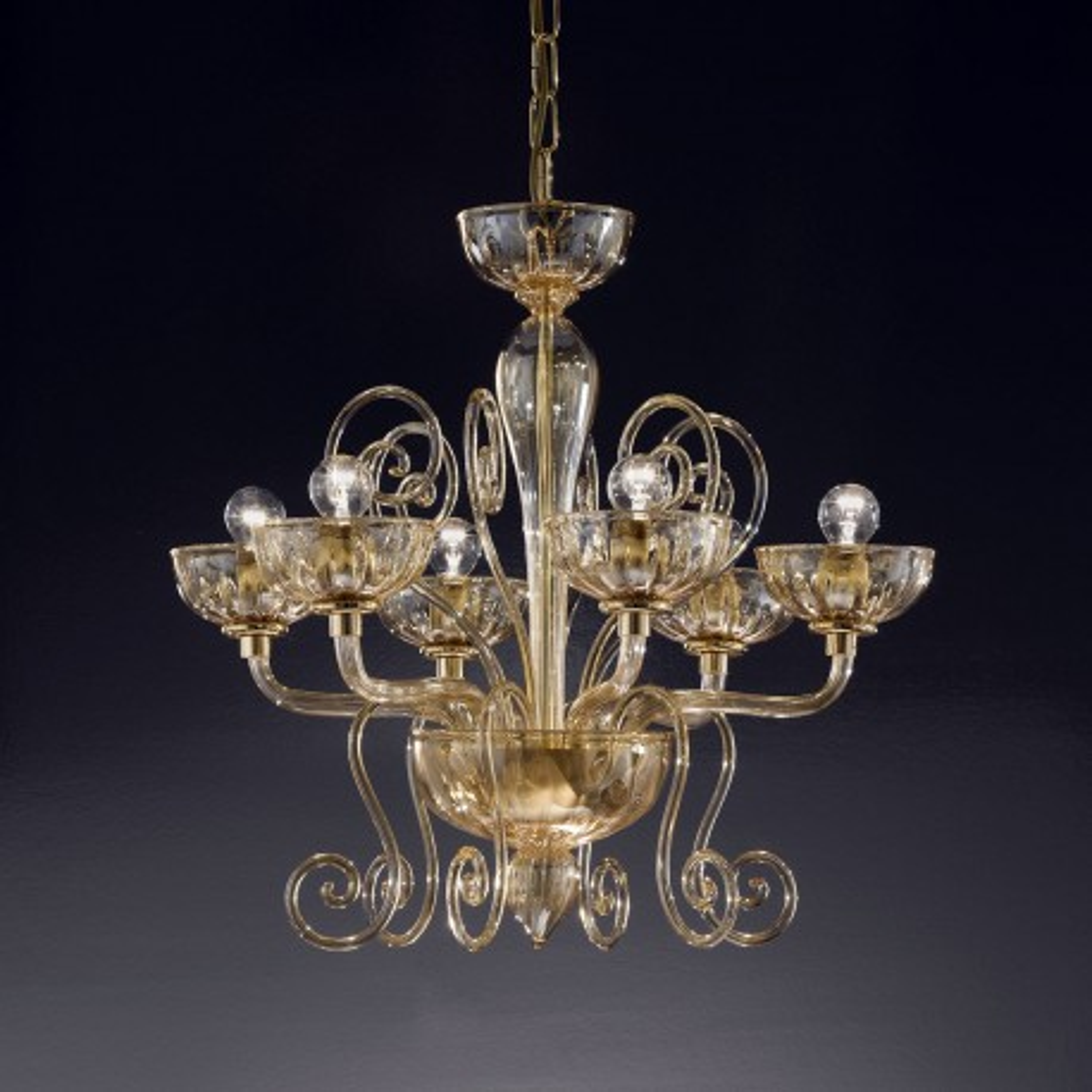 """Bassanio"" lustre en cristal de Murano - 6 lumières - ambre"