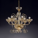 """Bassanio"" Murano glass chandelier - 6 lights - white"