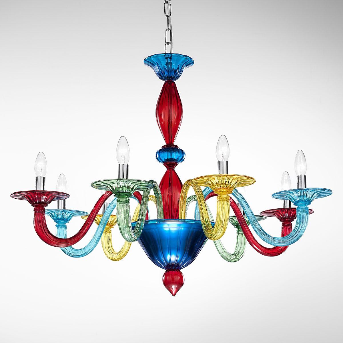 """Iride"" lampara de araña de Murano - 8 luces - multicolor"