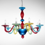"""Iride"" Murano glass chandelier - 8 lights - multicolor"