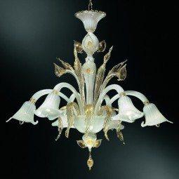 Laguna 6 lights Murano chandelier - white gold color