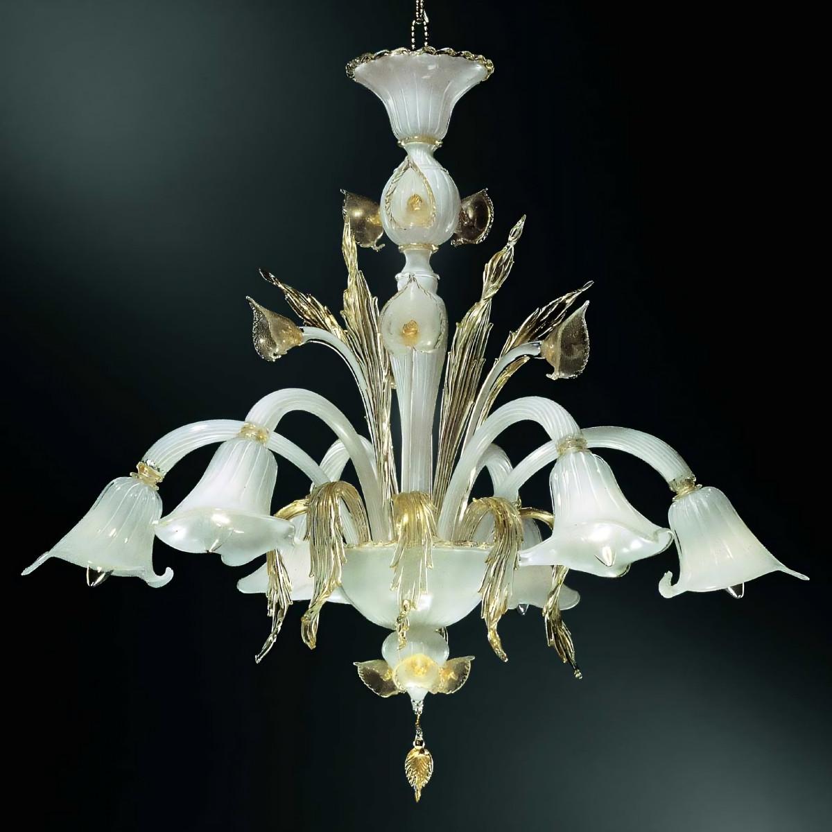 Laguna 6 luces lampara Murano - color blanco y oro