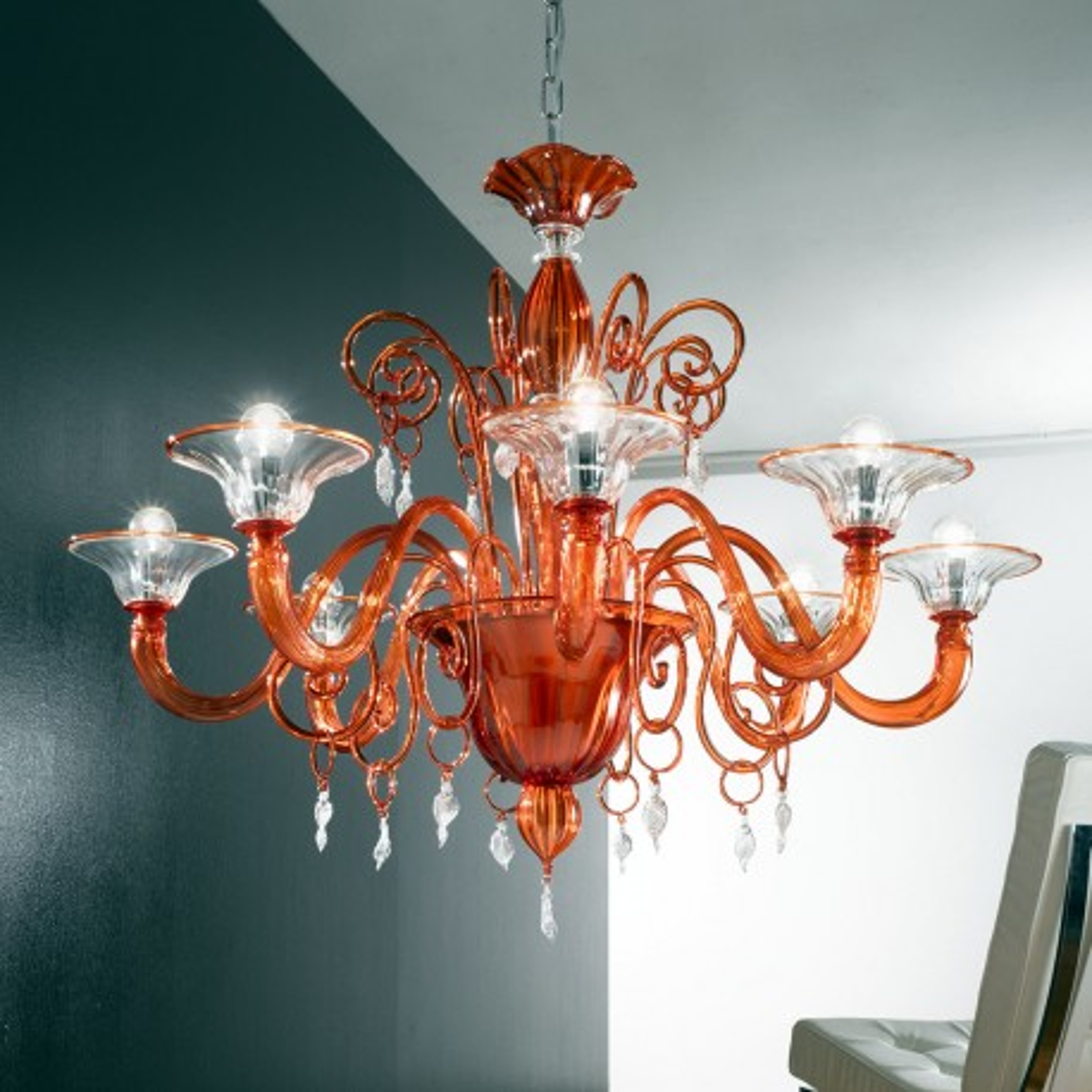 """Taric"" lampara de araña de Murano - 8 luces - naranja y transparente"
