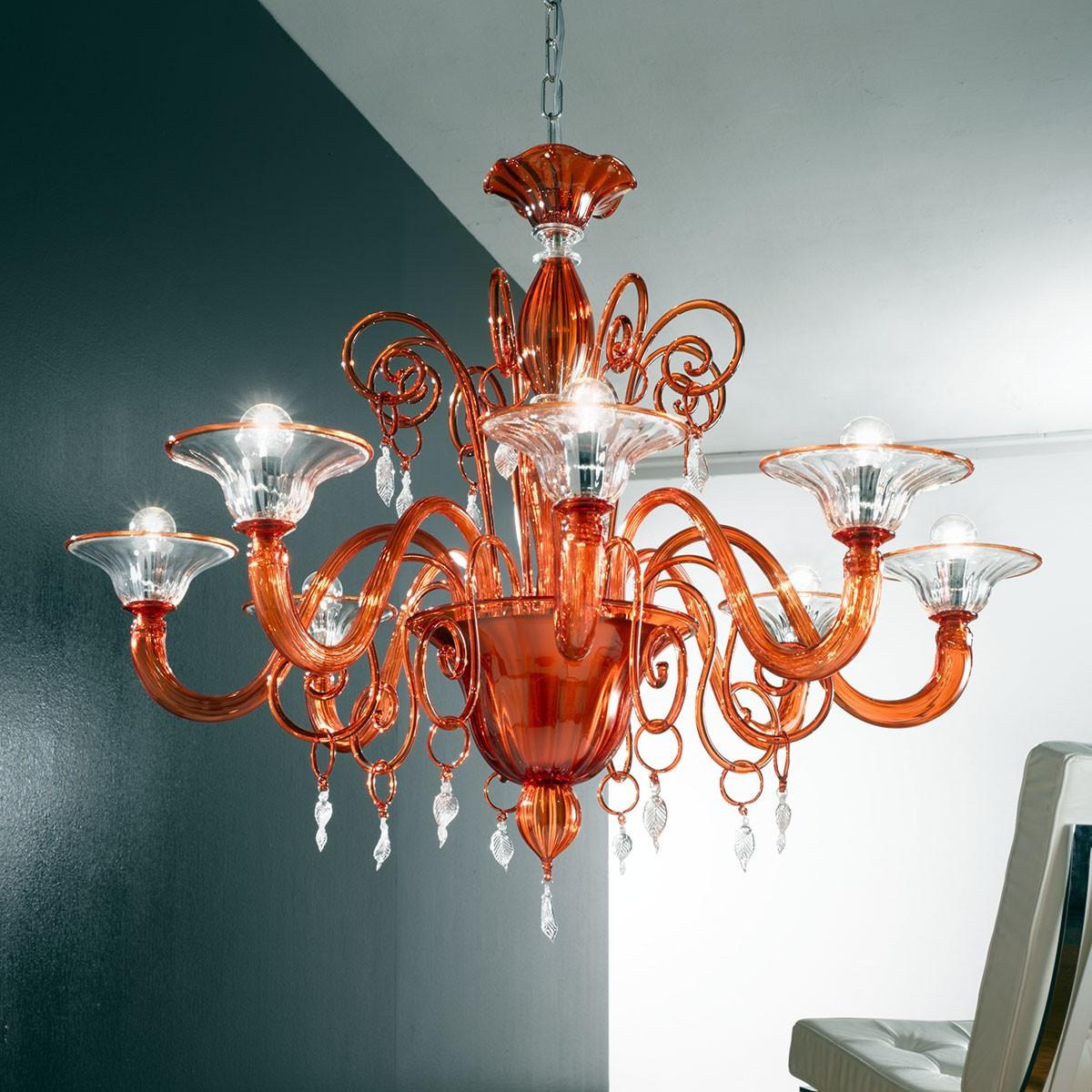 """""""Taric"""" lustre en cristal de Murano - 8 lumières - orange et transparent"""
