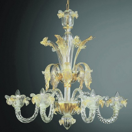 Accademia 5 lights Murano chandelier transparent gold color