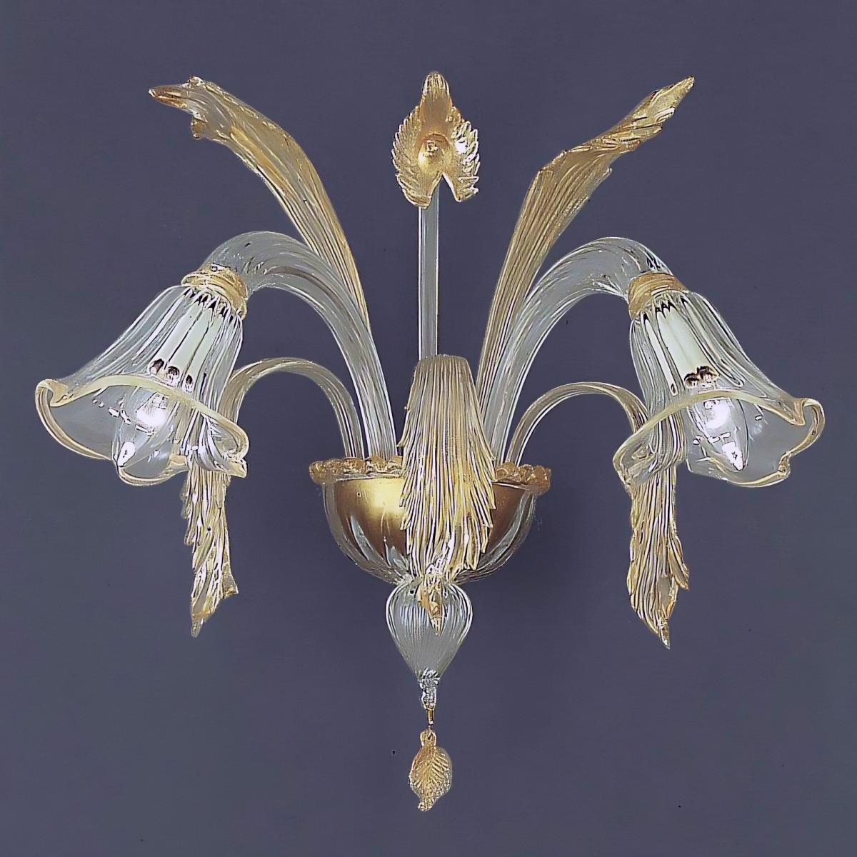 Laguna 2 luces Murano aplique - color transparente oro