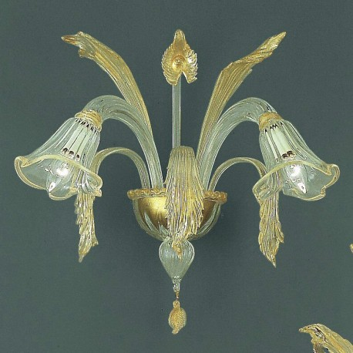 Laguna 2 flammig Murano wandleuchte - transparent Gold Farbe