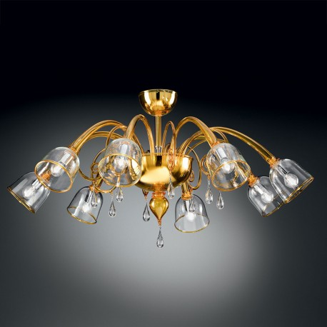 """Duncan"" Murano glass ceiling light - 8 lights - yellow and transparent"