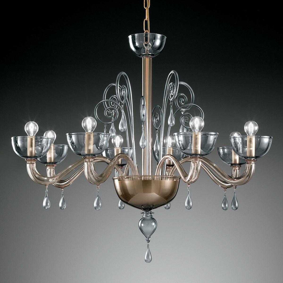 """""""Duncan"""" lustre en cristal de Murano - 8 lumières - gris fumé"""