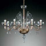 """Duncan"" Murano glass chandelier - 8 lights - smoky grey"