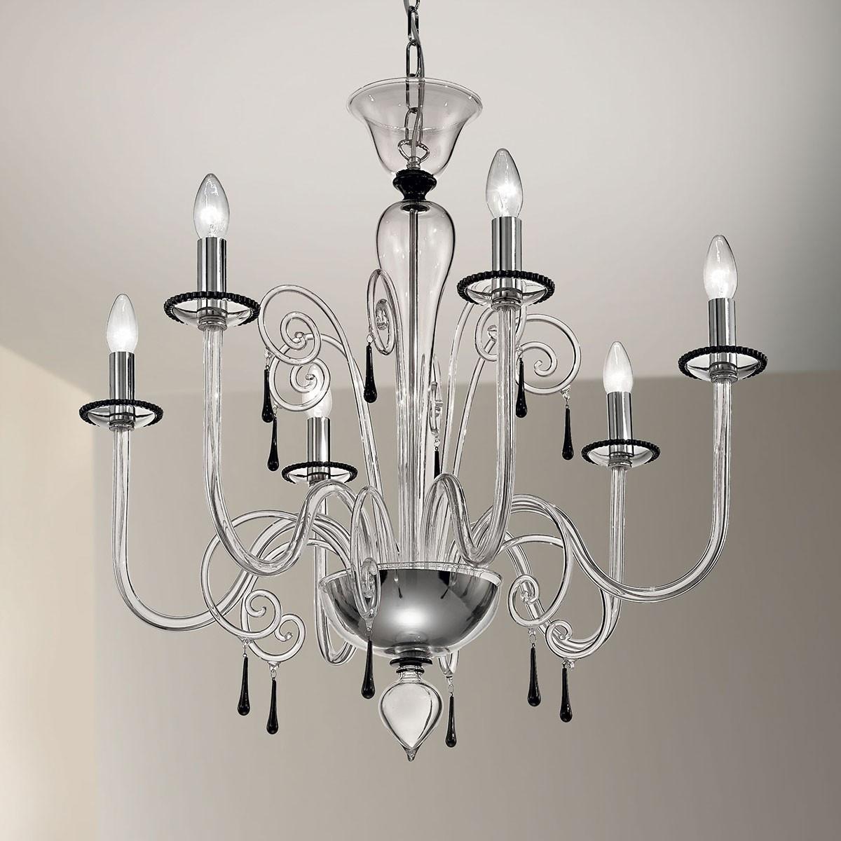 """""""Picandoi"""" lampara de araña de Murano - 6 luces -  transparente y negro"""