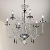 """Picandoi"" Murano glass chandelier- 6 lights - transparent and black"