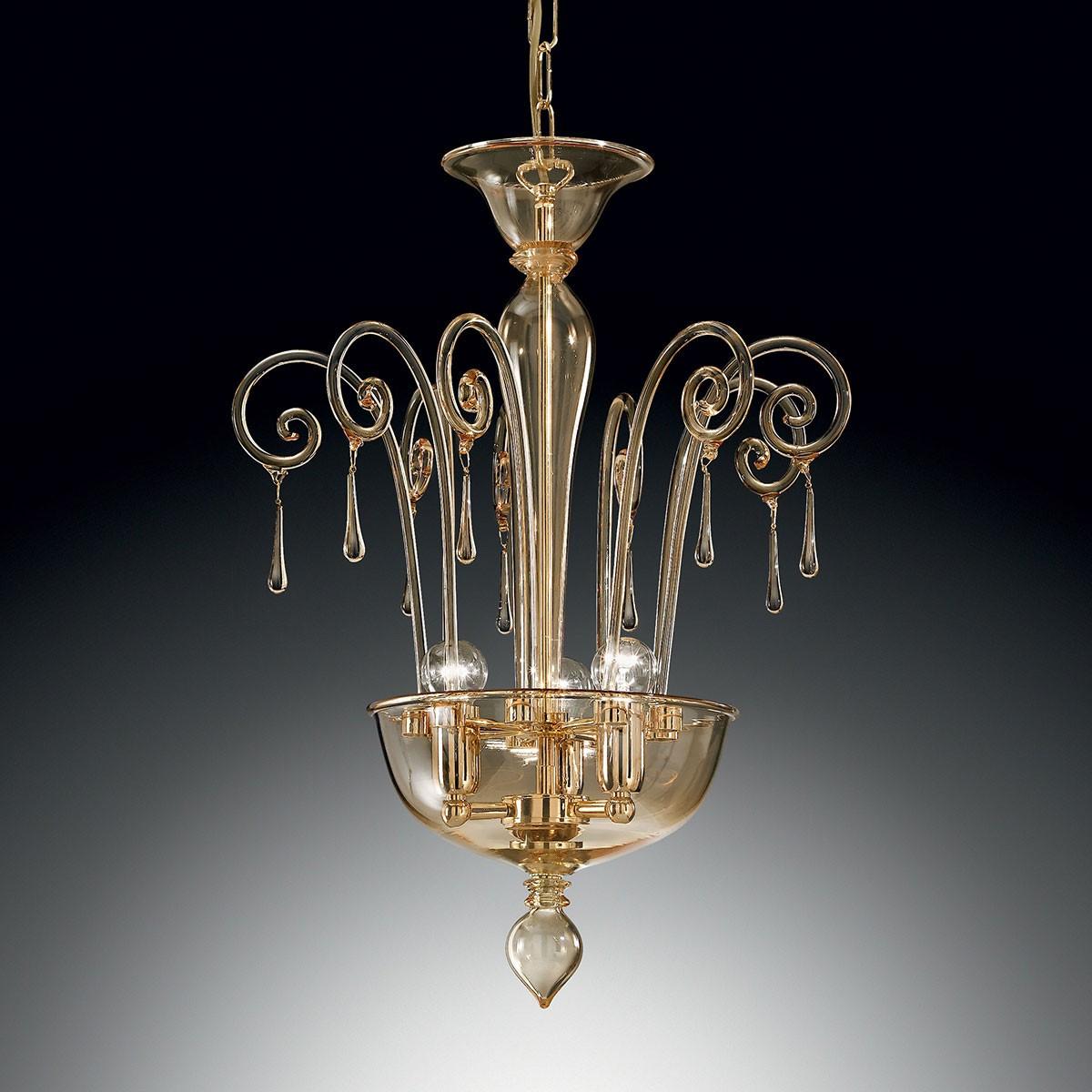 """""""Picandoi"""" suspension en verre de Murano - 3 lumières - ambre"""