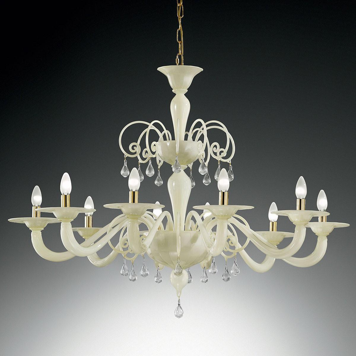 """Gertrude"" grand lustre Murano - 8 lumières - blanc"