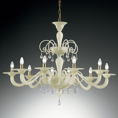 """Gertrude"" large Murano glass chandelier - 8 lights - white"