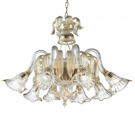 Laguna 8 lights Murano chandelier basket shape - transparent gold color