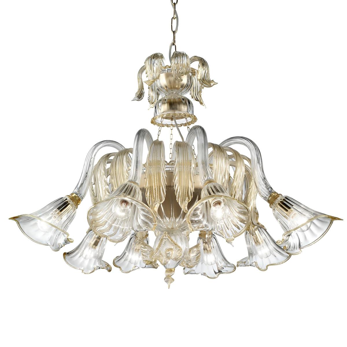 Laguna 8 lights Murano chandelier basket shape - transparent gold color
