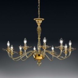 """Aragona"" Murano glass chandelier - 10 lights - amber"