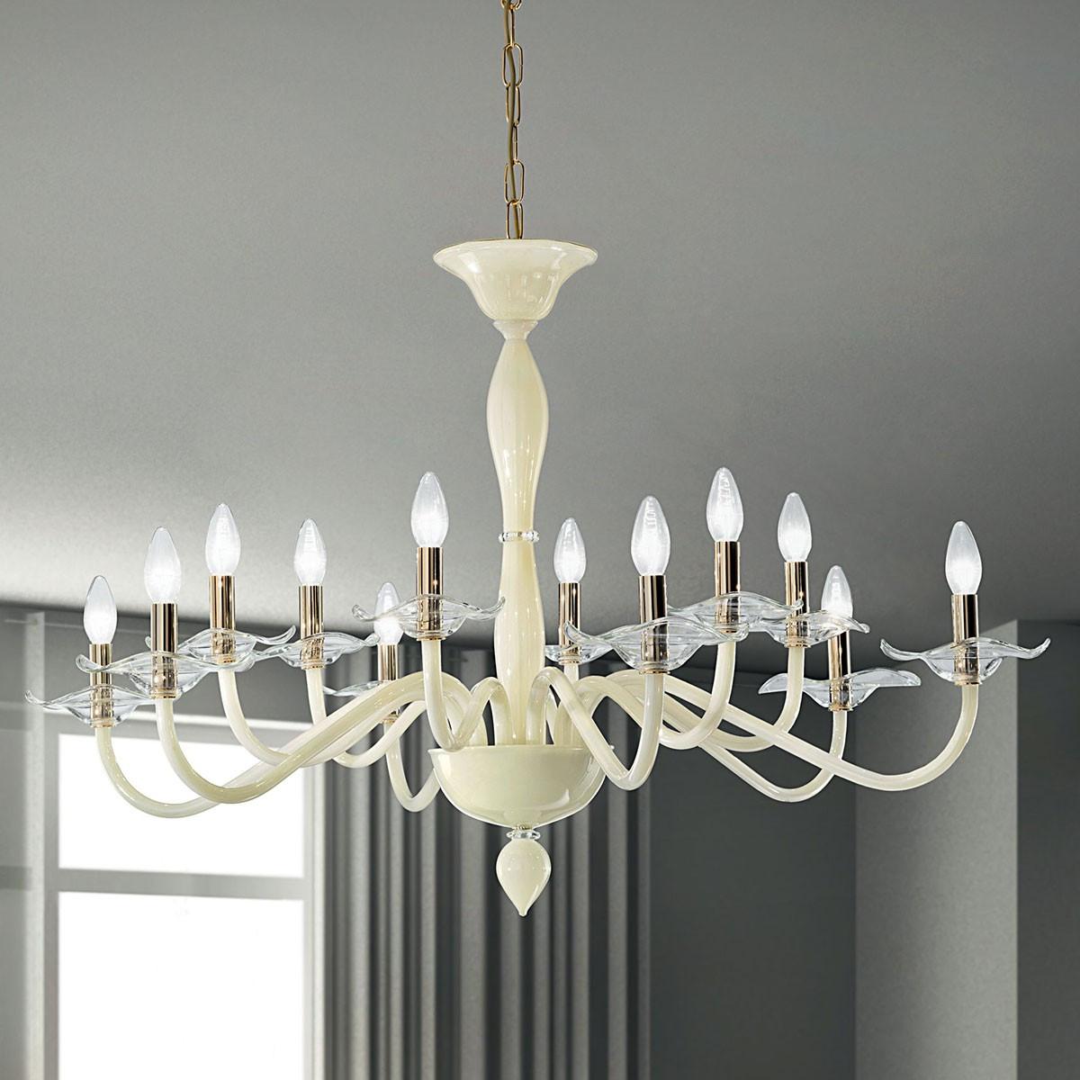 """""""Aragona"""" Murano glas Kronleuchter  - 6+6 flammig - weiß und transparente"""