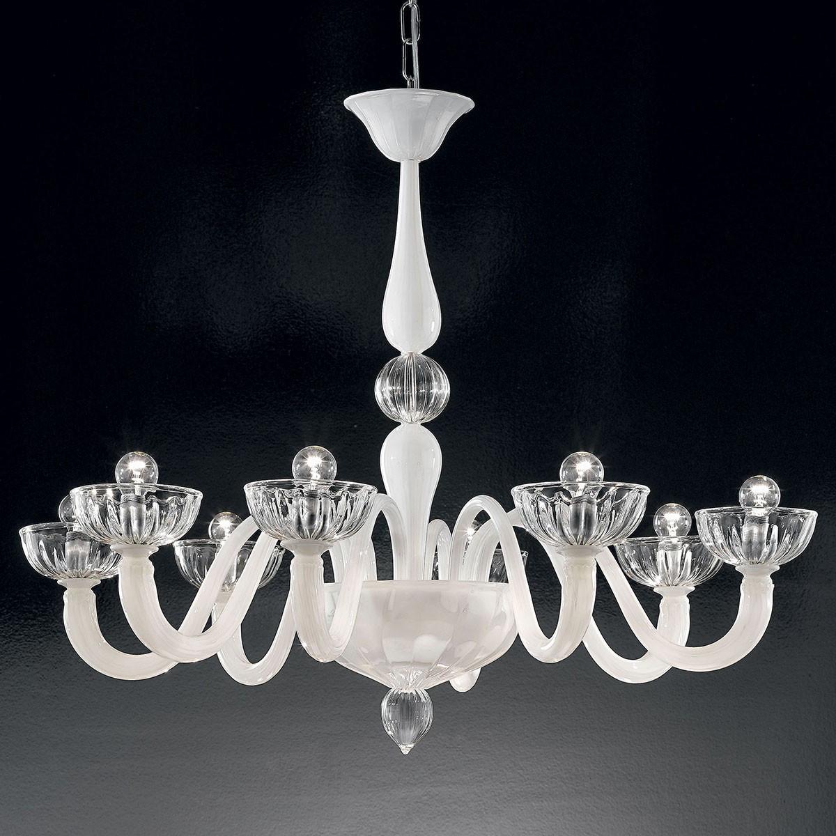 """Andronico"" lustre en cristal de Murano - 8 lumières - blanc"