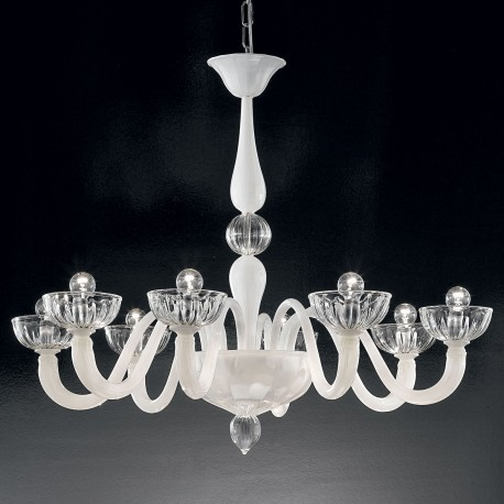 """""""Andronico"""" Murano glass chandelier - 8 lights - white"""