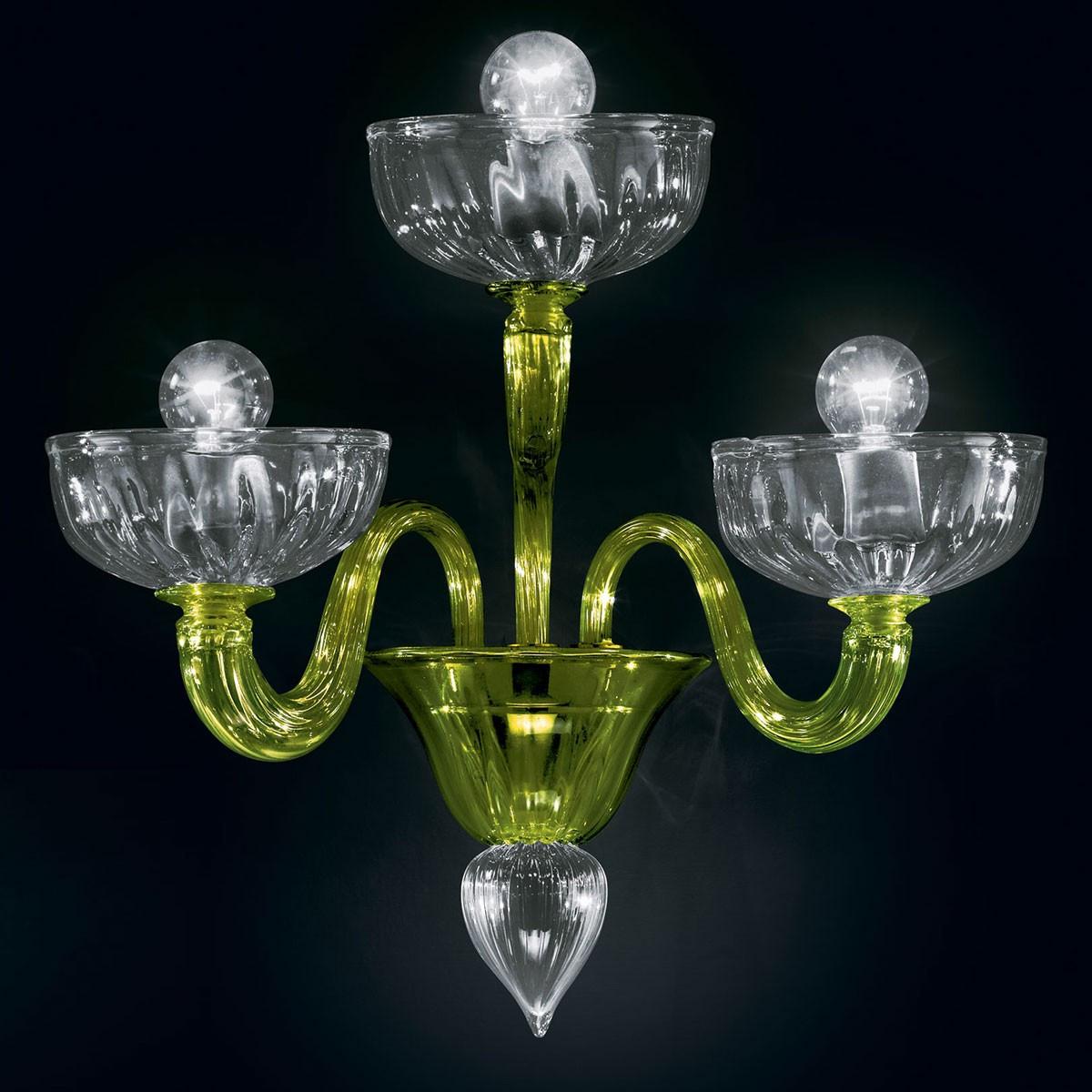 """""""Andronico"""" applique en verre de Murano - 3 lumières - vert et transparent"""