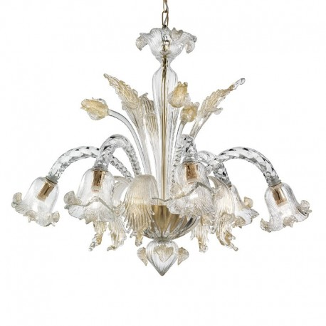 Marco Polo 5 lights Murano chandelier - transparent gold color