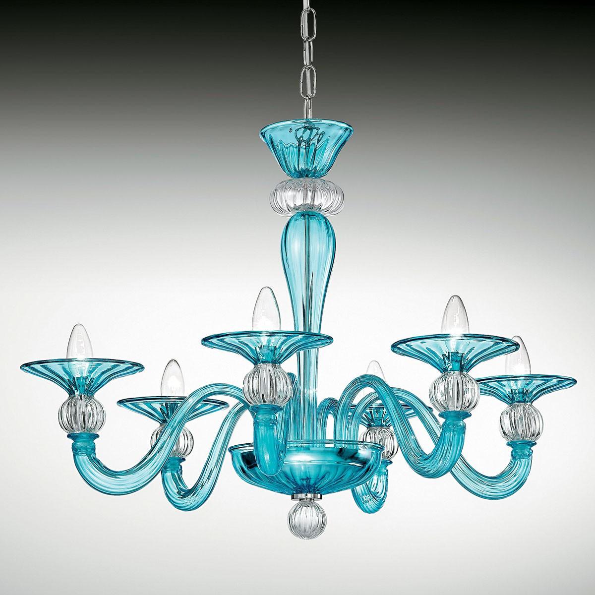 """""""Ermione"""" lustre en cristal de Murano - 6 lumières - bleu clair et transparent"""