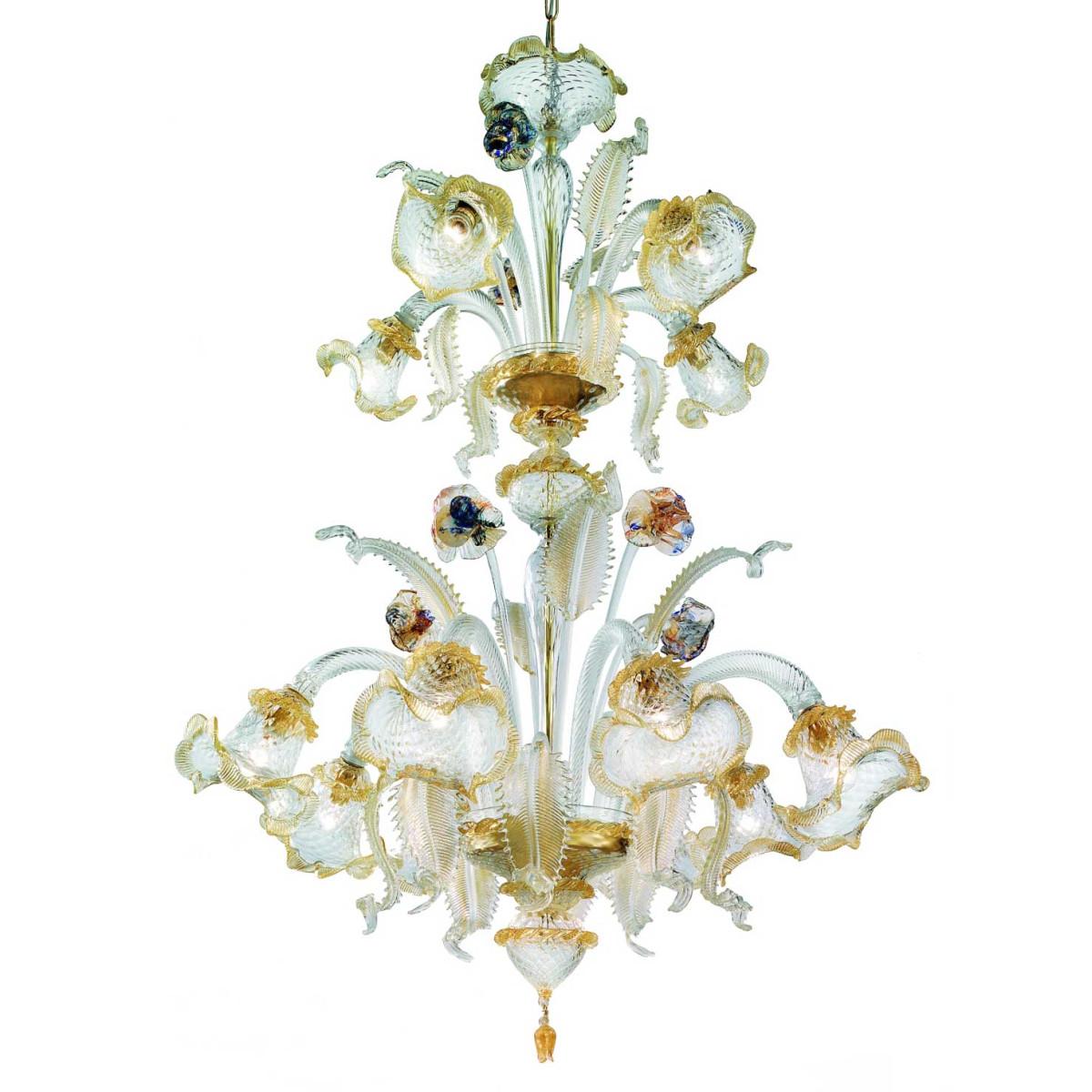 Canal Grande 2 niveles 8 +4 luces Murano lámpara de oro transparente - flores policromo