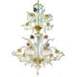 Canal Grande 2 tier 8+4 lights Murano chandelier transparent gold polychrome