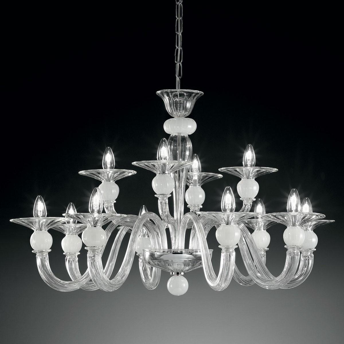 """Ermione"" lampara de araña de Murano dos niveles - 8+4 luces - transparente y blanco"