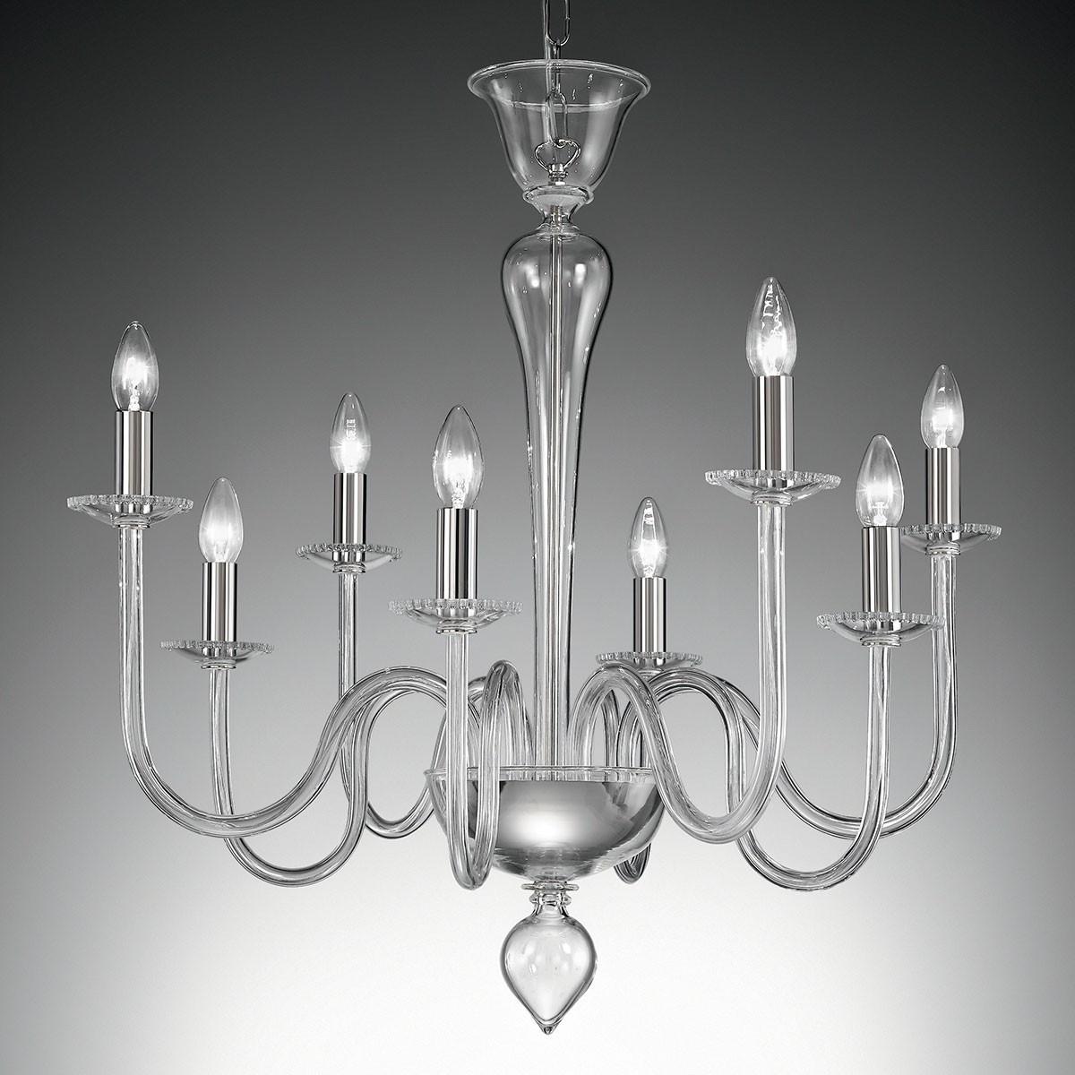 """""""Miranda"""" lustre en cristal de Murano - 8 lumières - transparent"""