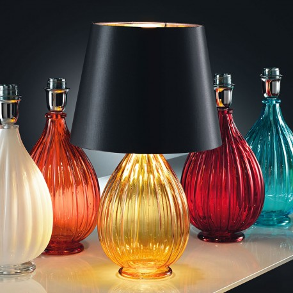 """Fiasca"" lampe de table en verre de Murano - 1 lumière - jaune"
